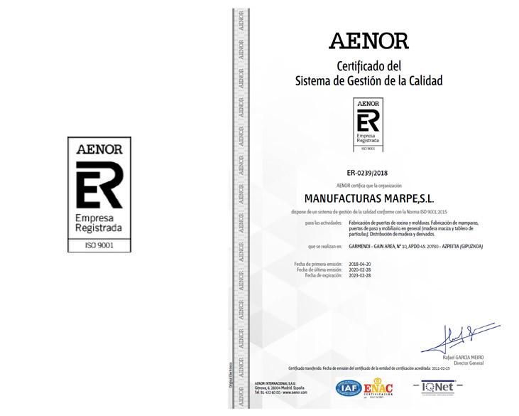 Manufacturas Marpe está cuenta con la certifiación de calidad AENOR ISO 9001:2008