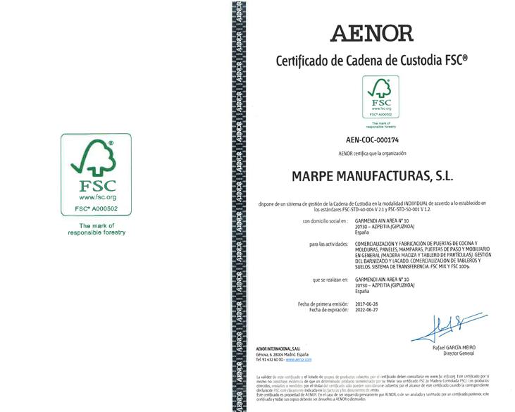Manufacturas Marpe está cuenta con la certifiación de calidad FSC