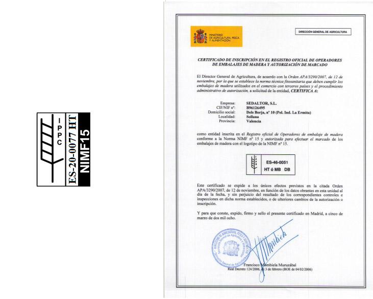 Manufacturas Marpe está cuenta con la certifiación de calidad NIMF15