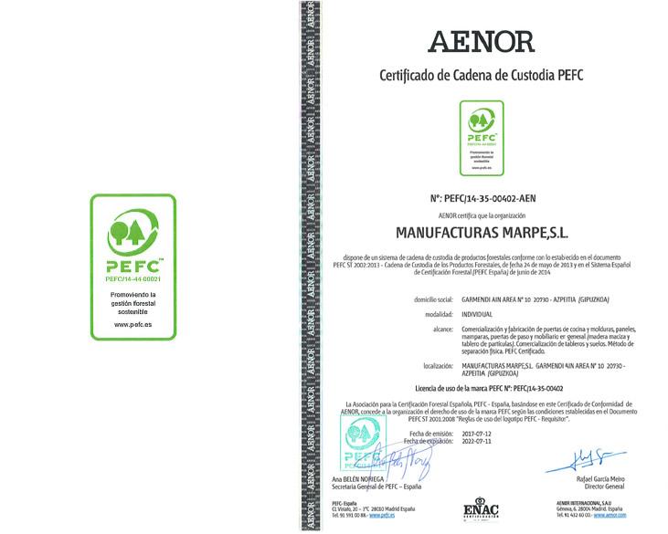 Manufacturas Marpe está cuenta con la certifiación de calidad PEFC